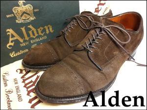 【ALDEN/オールデン】 キャップトゥ モディファイド スエード HUMMUS ストレートチップ シューズ ■55992F■7D■ダークブラウン