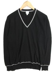 アルマーニ コレツィオーニ ARMANI COLLEZIONI ニット セーター Vネック ハイゲージ プルオーバー 長袖 48 黒 グレー 秋冬春 メンズ