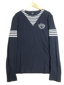 アルマーニ ジーンズ ARMANI JEANS Tシャツ カットソー ボーダー ロゴ プリント クルーネック 長袖 XL ネイビー