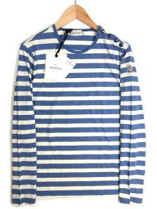 未使用品 モンクレール MONCLER Tシャツ カットソー ボーダー クルーネック 長袖 S ブルー