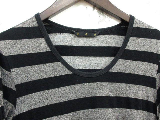 【ato/アトウ】 ○Tシャツ カットソー ボーダー柄 長袖 Uネック 黒 グレー 46の買取実績