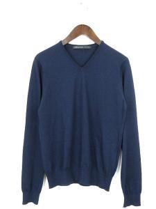 ビームス BEAMS ニット セーター Vネック 長袖 紺 ネイビー M メンズ