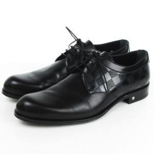 ルイヴィトン LOUIS VUITTON ダミエ ビジネスシューズ レースアップ レザー 本革 ブラック 黒 8M 靴 メンズ