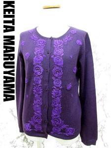 【KEITA MARUYAMA/ケイタマルヤマ】 フラワー 刺繍 ウール ニット 長袖 カーディガン セーター 1