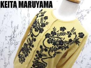 【KEITA MARUYAMA/ケイタマルヤマ】 フラワー 刺繍 ウール ニット 長袖 カーディガン セーター