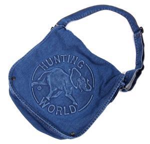 ハンティングワールド HUNTING WORLD デニム地 フラップ ショルダー バッグ