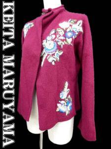 【KEITA MARUYAMA/ケイタマルヤマ】 花刺繍 ショート丈 長袖 ウール 二ット カーディガン 1 ボルドー