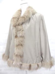 【BALMAIN/バルマン】 コート ダウンジャケット ジャンパー シルク素材 ブルーフォックスファー使い 1 ベージュ系 ♪