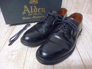 【ALDEN/オールデン】 コードバン プレーントゥ ビジネスシューズサイズ7 1/2B/Dブラック△M38「お財布に優しい通販価格」