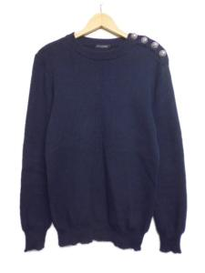 【BALMAIN/バルマン】 美品 ショルダーボタン長袖コットンニットセーター サイズSブラック/H56「お財布に優しい通販価格」