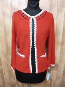 未使用品 フランコフェラーロ FRANCO FERRARO 刺繍編み込み長袖カーディガンサイズ2赤×白/a55の買取実績