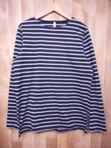 美品 アタッチメント ATTACHMENT ボーダー 長袖 Tシャツ カットソー ロンT 2 ネイビー グレー/I40
