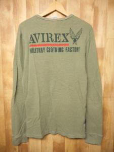 アヴィレックス AVIREX 長袖 Tシャツ カットソー プリント L 緑 黒 メンズ /1 メンズの買取実績