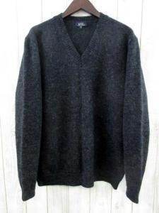 アーペーセー A.P.C. ニット セーター Vネック ウール 長袖 チャコール グレー M フランス製 秋冬 メンズ