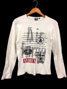 アヴィレックス AVIREX Tシャツ 長袖 ワッフル プリント 白系 M ※HM 161025 メンズ