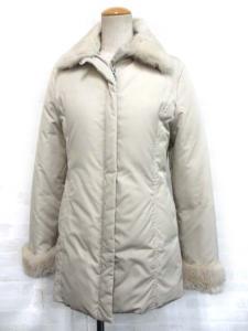 ヨンドシー 4℃ ダウン コート ジャケット ラビットファー付き ジップアップ ベージュ 38