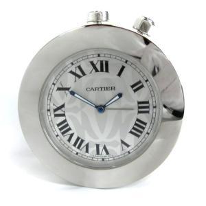 カルティエ Cartier トラベルクロック アラーム クロップ クオーツ 置き時計 シルバー ジャンクの買取実績