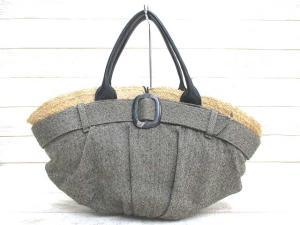 【EBAGOS/エバゴス】 レザー使い 天然素材 帽体 かごバッグ ヘリンボーン