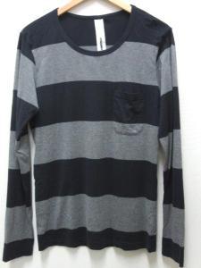 アタッチメント ATTACHMENT Tシャツ スーピマ天竺 ボーダー クルーネック 2 長袖 紺 ネイビー グレー AJ31-290
