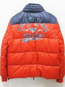 未使用品 アルマーニ ジーンズ ARMANI JEANS ダウン ジャケット ナイロン 52 オレンジ 紺 ネイビー 切替 ベスト ジップ メンズの買取実績