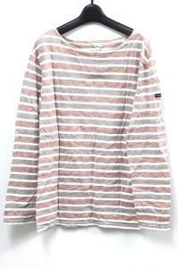 【Fil Merange/フィルメランジェ】 Tシャツ ロンT カットソー ボーダー 総柄 長袖 白×灰 3 A7の買取実績