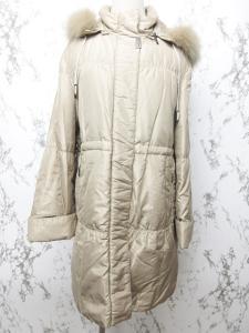 バルマン BALMAIN ダウンコート ダウンジャケット シルク フォックスファー 毛皮 比翼 フード ベージュ Lの買取実績