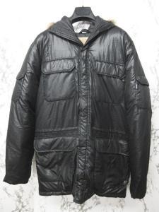 アヴィレックス AVIREX ダウンジャケット ダウンコート ブルゾン 比翼デザイン 黒 ブラック L
