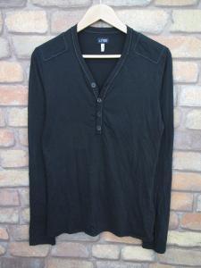 アルマーニ ジーンズ ARMANI JEANS ヘンリーネック カットソー Tシャツ 長袖 M 黒 メンズ/N110