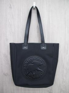 美品 ハンティングワールド HUNTING WORLD ロゴ トート ハンド バッグ キャンバス レザー サファリトゥデイ 黒 ブラック メンズ レディース