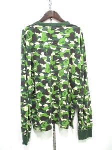 アベイシングエイプ A BATHING APE BAPE ベイプ カットソー Tシャツ 長袖 迷彩 カモフラ 緑 グリーン M 秋冬の買取実績