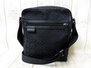 コーチ COACH バッグ ショルダー フライト シグネチャー ジャガード F70698 キャンバス レザー 黒 ブラック 鞄 メンズ レディース