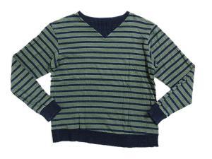 ブルーブルー BLUE BLUE Tシャツ カットソー トレーナー 長袖 ボーダー柄 インディゴ染 L 緑 グリーン系 M6