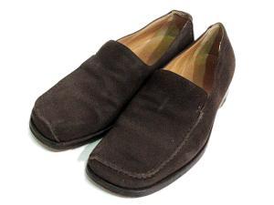 エルメス HERMES スリッポン 靴 シューズ スエード レザー 本革 イタリア製 伊製 40 約25cm相当 茶 ブラウン