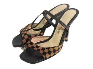 ルイヴィトン LOUIS VUITTON サンダル 靴 シューズ ストラップ ハラコ ダミエ 伊製 イタリア製 37(約23.5cm相当) 茶 ブラウン系 レディース
