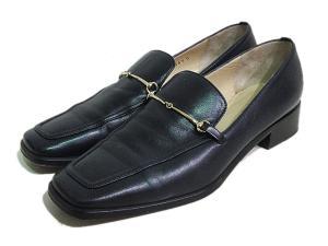 グッチ GUCCI ビット ローファー 靴 シューズ レザー 本革 伊製 イタリア製 36 1/2C 23.5cm 紺 ネイビー系 レディース