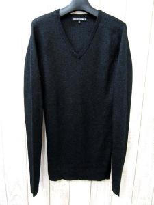 美品 5351 POUR LES HOMMES 5351プールオム Vネック ウール混 ラメ リブ編み ニット セーター 2 ブラック メンズ