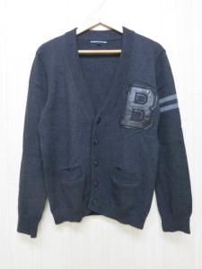 バックボーン BACK BONE ザベイシス ウールカーディガン Bロゴ ブラック size.L【ブランド古着ベクトル】【フクウロ】160912★