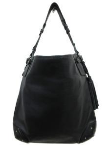 美品 バリー BALLY フリンジ レザー リング ショルダー バッグ 鞄 黒