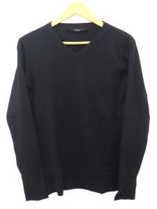 エーケーエム AKM Vネック ニット カットソー 黒 ブラック 無地 シンプル 長袖 オシャレ おすすめ トップス セーター H31208