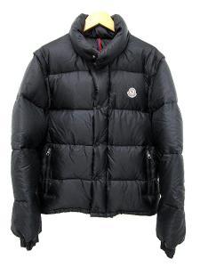 モンクレール MONCLER ダウン ジャケット size1 黒 ブラック 2way ベスト 無地 国内正規品 アウター メンズ