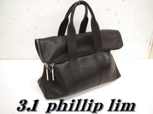 【3.1 phillip lim/スリーワンフィリップリム】 31hour ソフトレザーフラップミニボストンバッグ 黒 ‡