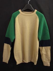 未使用品 ミスタージェントルマン MR.GENTLEMAN ニット セーター 長袖 ベージュ 緑 紺 L