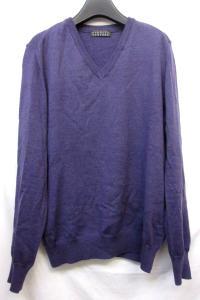 バーニーズニューヨーク BARNEY'S NEWYORK Vネック セーター ニット 長袖 ニットソー ウール 毛 紫 50