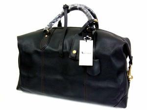 未使用品 アクアスキュータム AQUASCUTUM レザー ボストンバッグ カバン 鞄 革 南京錠 内側チェック柄 黒 ブラック タグ付き