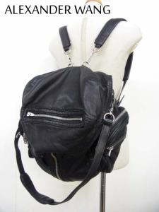 【ALEXANDER WANG/アレキサンダーワン】 3wayバッグパック/リュック/ショルダーバッグ/肩掛け/レザー/黒/ブラック/鞄