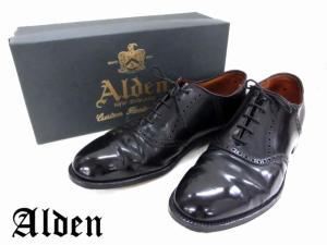 【ALDEN/オールデン】 ストレートチップレザーシューズ/コードバン/サドルシューズ/ドレスシューズ/ビジネスシューズ/黒/ブラック/サイズ11ハーフ/革靴/メンズ靴/紳士靴/保存袋・箱付き