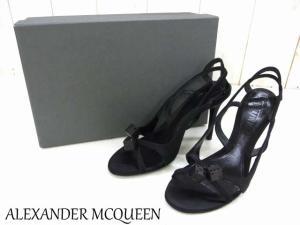 【ALEXANDER MCQUEEN/アレキサンダーマックイーン】 ダイスモチーフ付きデザインサンダル/ミュール/サイコロ/黒/ブラック/サイズ36/レディース靴/婦人靴/箱付き