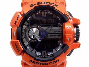 【G-SHOCK/ジーショック】 G'MIX デジアナ腕時計/bluetooth/オレンジ/ウォッチ/20気圧防水/LEDライト/モバイルリンク機能/ミュージックコントロール/GBA-400-4BJF
