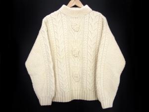 インバーアラン INVERALLAN ハイネック ケーブルニット セーター オフホワイト 厚手 ウール 長袖トップス