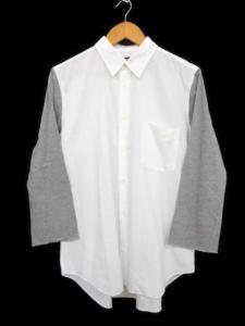 コムデギャルソンブラック COMME des GARCONS BLACK 袖切替長袖シャツ コットン ホワイト グレー 白 灰 L メンズトップス